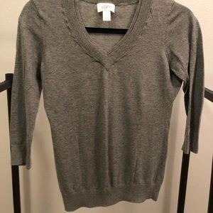 Ann Taylor LOFT Gray V-neck sweater